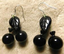 GOTHIC BLACK CHERRY LEVERBACK EARRINGS CZECH GLASS LEAF