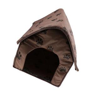 Pet Dog Cat Cave Bed House Footprint Windproof Warm Puppy Soft Mat Kennel
