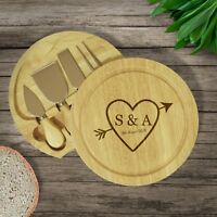 Personalised Engraved Initials Heart Wooden Cheeseboard Cheese Knives Wedding