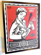 NEW 2009 Obey Giant X LEVIS Shepard Fairey STAY UP GIRL Art Print FRAMED + KAWS