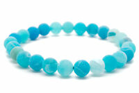 Blue Agate Natural Beaded Bracelet Chakra Healing Men Women-DT371