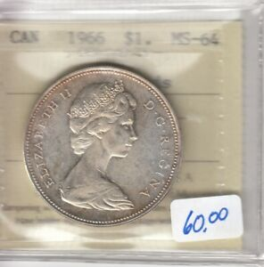 1966 Canada Silver Dollar - ICCS MS-64 - Cert # XHN 044