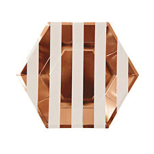 8X de Lujo Oro Rosa Papel Metálico Grande Platos Hexagonales 26cm