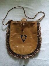 vintage '1960 hippy boho fringe western cowboy peace and love leather handbag