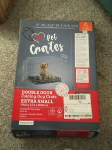 Pets at Home Double Door Folding Dog Crate Extra Small XS + FREE GIFT E-collar