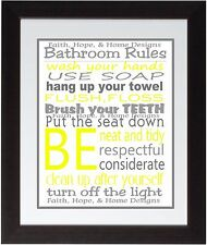 Yellow Bathroom Rules Wall Art Print poster Family Rules Brush your teeth Wash