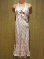 Mexx Pink Striped Halter Dress Size 14 Lined Calf Length Linen A-line