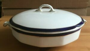 EMPIRE WARE BLUE & WHITE WITH GOLD GILT EDGE -  LIDDED HANDLED TUREEN