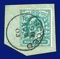1902 SG216 ½d Deep Blue-Green M1(3) Pencoed CDS AU 8 03 on piece  ayzu
