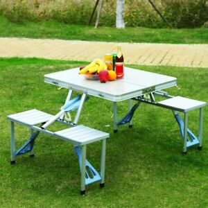 Camping Table Folding Aluminium Picnic Outdoor BBQ Party Desk +4 Chairs Portable