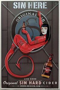"ORIGINAL SIN HARD CIDER print poster 24"" X 36"" oop R. BLACK"