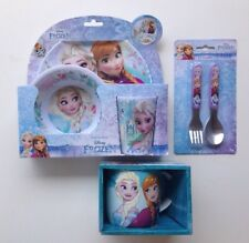 Disney Frozen Anna & Elsa Plate Cup Bowl Spoon Fork Cutlery Set & Ceramic Mug BN