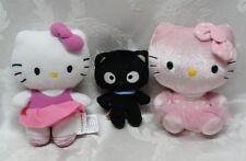 Sanrio Hello Kitty Dolls Black Cat TY Plush Set Build a Bear BAB Pink Satin EUC