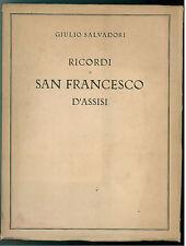 SALVADORI GIULIO RICORDI DI SAN FRANCESCO D'ASSISI BARBERA 1926 MARIO BARBERIS