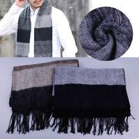 Mens Classic Winter Knitted Neck Warm Scarf Pashmina Shawl Stripe Acrylic Fibers
