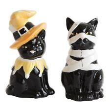 Black Cat Witch & Mummy Salt & Pepper Set Halloween Mary Lake Thompson New