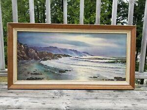 Huge VTG Framed OCEAN/Seascape Litho/Print 44x22 Cottage/Beach/Nautical/Coastal