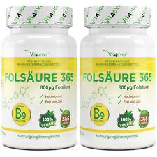 2x Folsäure Vitamin B9 = 730 Tabletten - 800 mcg / µg - Vegan - Premium