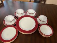 Vintage Pyrex Pink Flamingo Red GOLD TRIM 20pc Dinner Bread Plates Cup Saucers