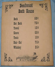 Deadwood Bath House Prices Poster, old west, western, wanted, bathhouse