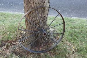Antique Wagon Wheel Tractor Automobile #3 12 Spokes 32 Inches Tall Farm Decor