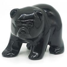 "2"" Natural Stone Black Obsidian Bear Figurine Carved Animal Statue Home Decor"