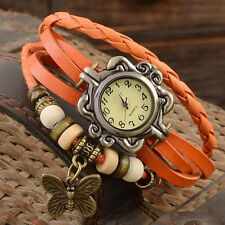 Women Men Retro BOHO Fashion Quartz Watches Bracelet Wristband Bangles Butterfly