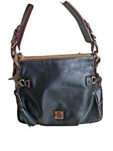 Dooney Bourke Florentine Bag Hobo Black Toledo  Shoulder Purse  Tassels