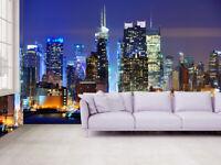 3D New York Manhattan Night View Self adhesive Wallpaper TV Background Mural