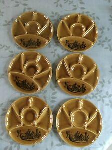 6 assiettes à fondue Gien couleur miel, crudités, cadeau vintage, années 70