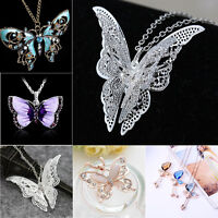 Pretty Rhinestone Crystal Butterfly Series Pendant Women Sweater Chain Necklace