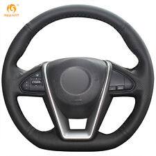 Black Genuine Leather Steering Wheel Cover for Nissan Lannia 2015 Maxima 2016