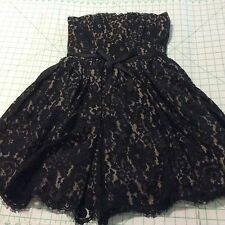 NEW  Black Lace Tan Lined Knee Length Strapless Evening Dress LADIES SIZE 6