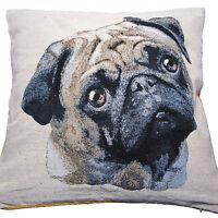 "Pug Dog Cushion Cover Puppy Dog Tapestry Luxury Quality 18 x 18"" 45 x 45cm"