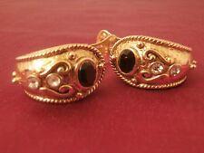Vintage 80's Semi Circle Vendome Zirconia & Onix Earrings