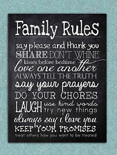 Metal sign Retro vintage chalk Family rules home kitchen tin wall art plaque