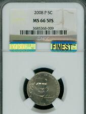 2008-P JEFFERSON NICKEL NGC MS66 FS PQ MAC FINEST BUSINESS STRIKE MAC SPOTLESS