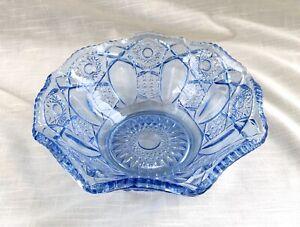 Vintage Blue Fenton Pressed Glass Bowl, Optic Panels