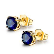 Royal 24k Yellow Gold Filled Blue Sapphire Crystal Charming Stud Earring Jewelry