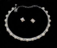 Parure Ras de Cou 2 Rangs Parure Perles & Strass  bijoux Mariage Soirée