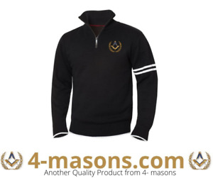 Quality Freemason heavy knitted Sweater with masonic logo embroidered top left