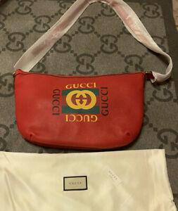 NWT 100% Authentic GUCCI Red Calfskin Half Moon Logo Hobo Bag Unisex LARGE