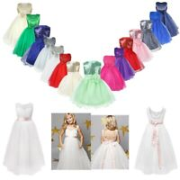 Kids Flower Girl Dress Bridesmaid Wedding Princess Party Sequins Bowknot Gown
