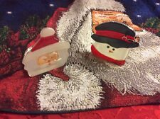 Santa And Snowman Tealight Pair Christmas Glass Candle Holders partylite P9466