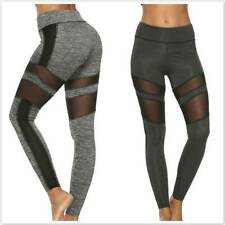 Gym Leggings Womens Mesh Contrast Yoga Fitness Seamless Tight Pants Sportwear JI