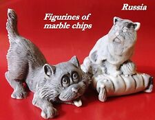 Cats figurines miniatures marble chips realistic Souvenirs Russia funny animals