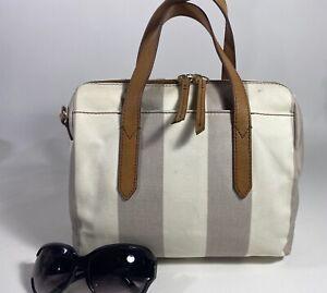 FOSSIL SYDNEY  Coated Canvas Gray/White Satchel Handbag Purse ORIGINAL STYLE