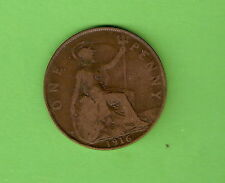 1916  GREAT BRITAIN BRONZE ONE PENNY  COIN
