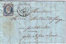 ORNE-TINCHEBRAI T14 8-10-1854 N°14 OBL.PC3370 -INDICE15 - LETTRE AVEC TEXTE.