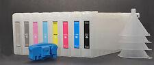 8 Refillable UltraChrome K3 Pigment Ink Cartridges for Epson 7800/9800+Resetter